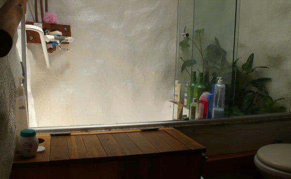 O detalhe das plantas no banheiro, são para filtrar a água, pois é um dos filtros biológicos que a casa tem.